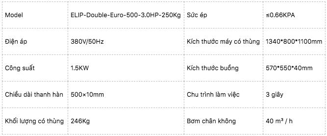 Máy hút chân không hai buồng Elip Double Euro