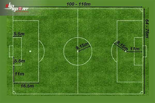1 vòng sân bóng đá bao nhiêu mét