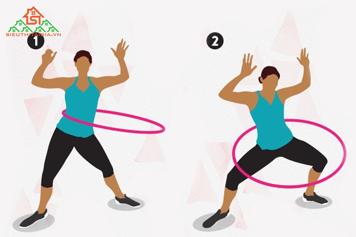 Lắc vòng kết hợp squat