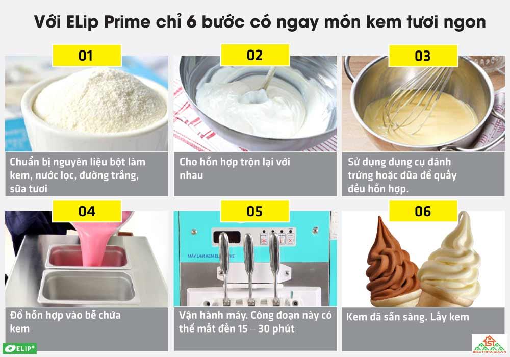 hướng dẫn sử dụng máy làm kem tươi Elip Prime
