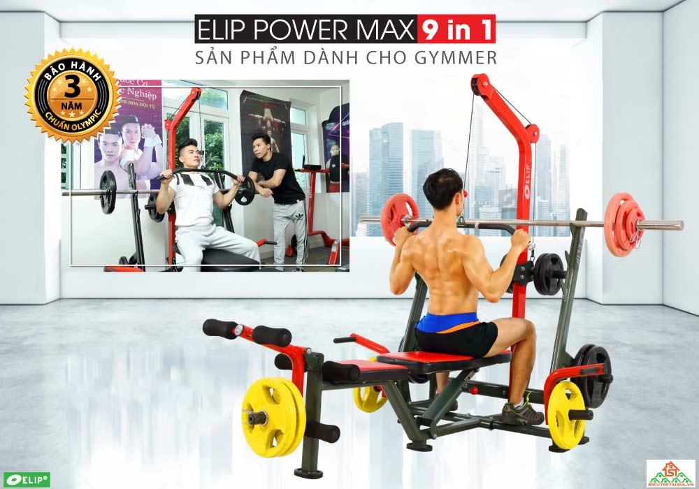 Ghế tạ đa năng Elip Power Max 9in1 - 40kg Tạ + Đòn Tạ - ảnh 1
