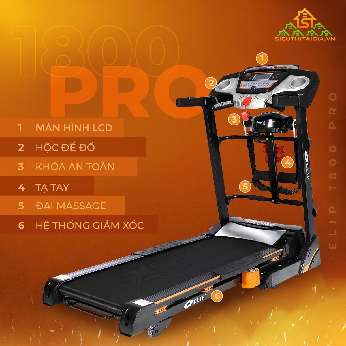 Máy chạy bộ đa năng ELIP 1800 Pro