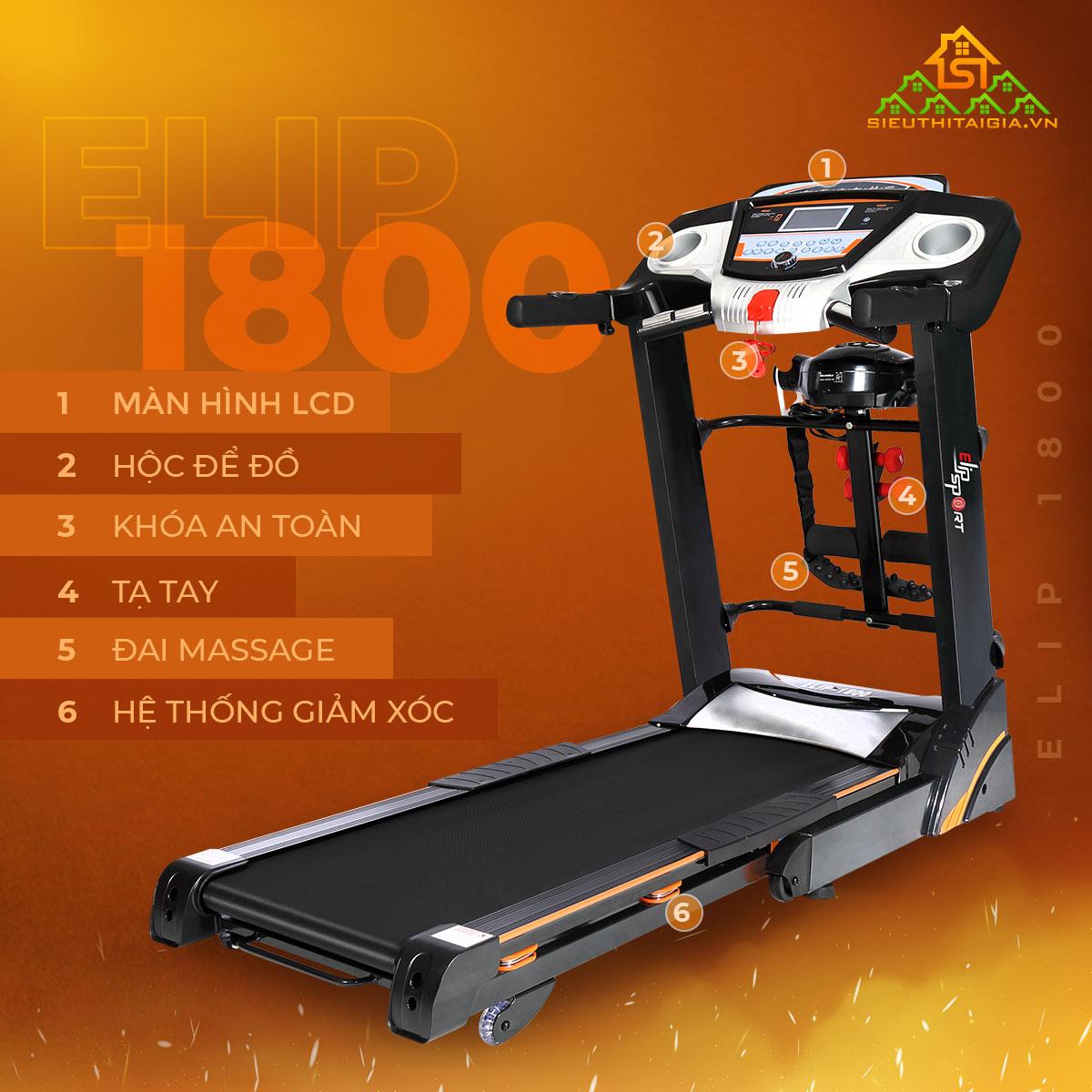 Máy chạy bộ đa năng ELIP 1800