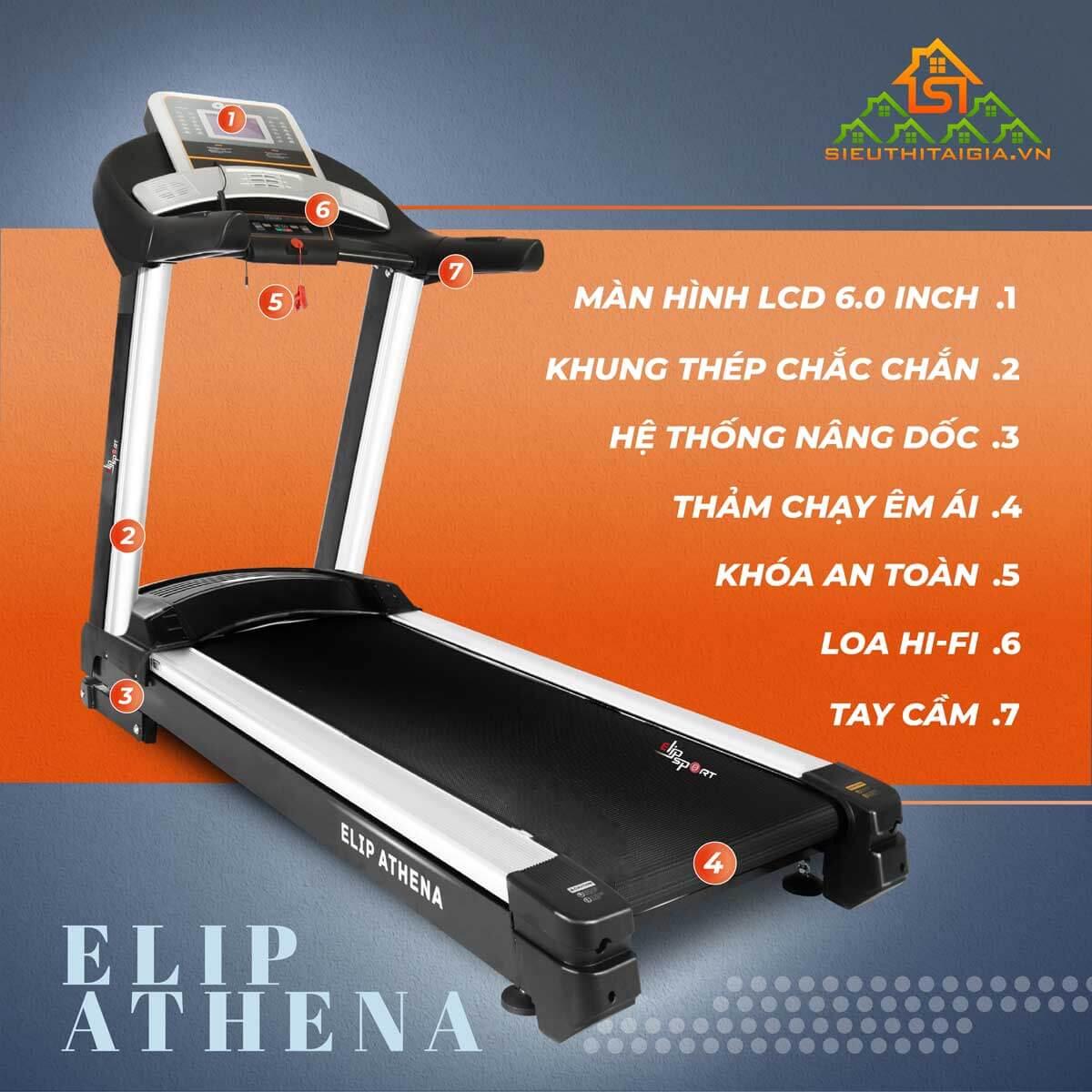 nhưng máy chạybộ điện Elip Athena