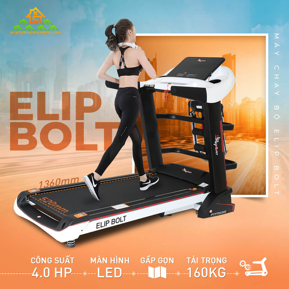 máy chạy bộ đa năng Elip Bolt