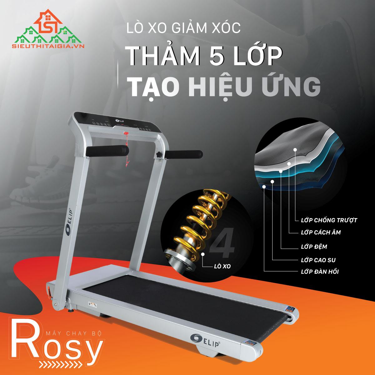 Máy chạy bộ điện đơn năng ELIP Rosy
