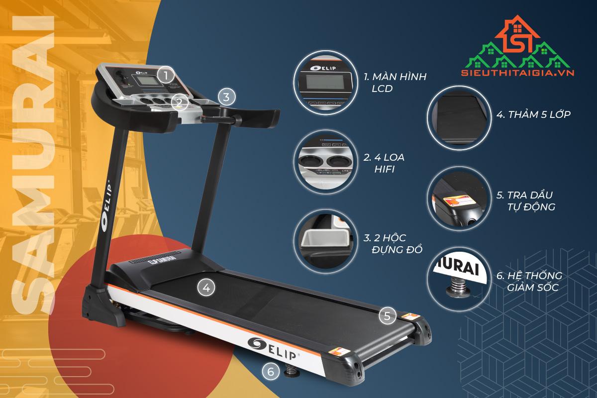 Máy chạy bộ điện đơn năng ELIP Samurai