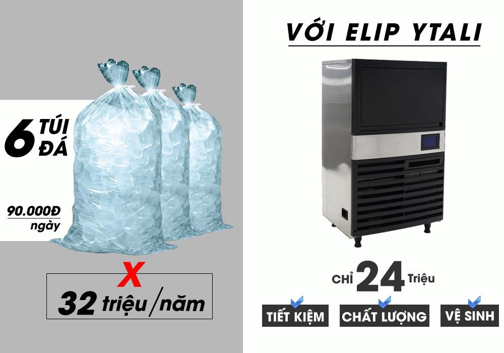 hiệu suất máy làm đá Elip Ytali E-60