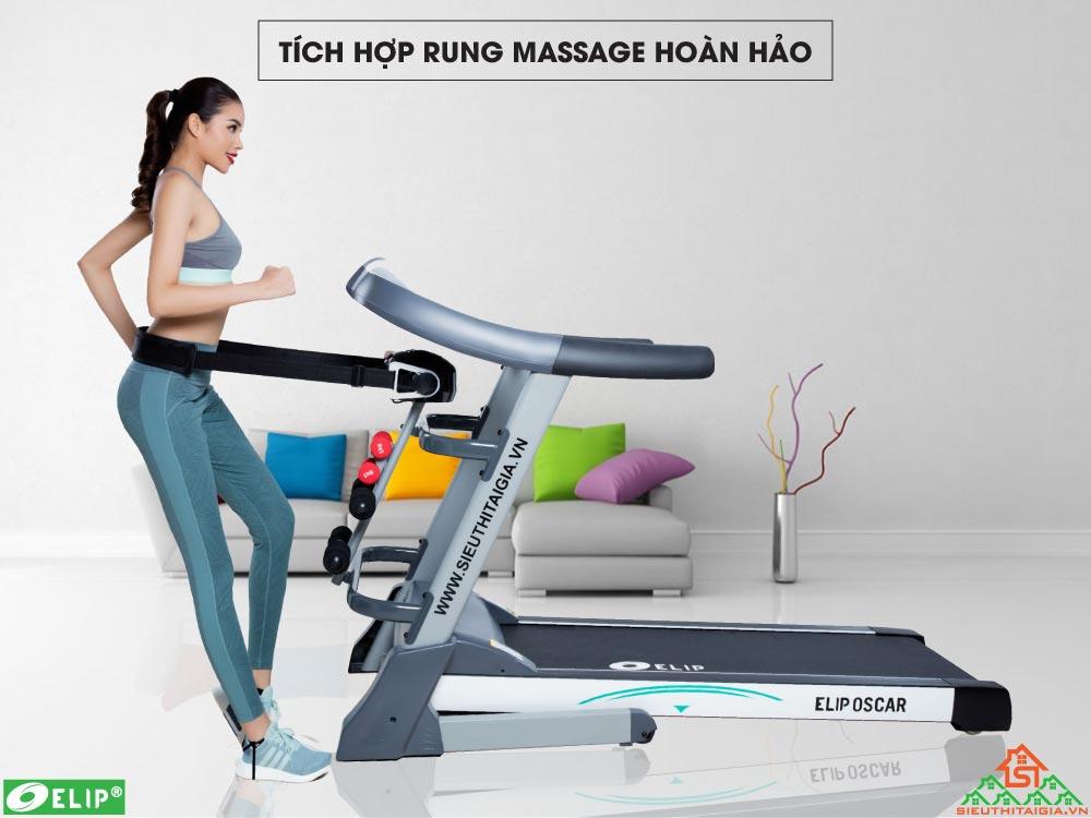 Máy chạy bộ điện Elip Oscar tích hợp massage rung
