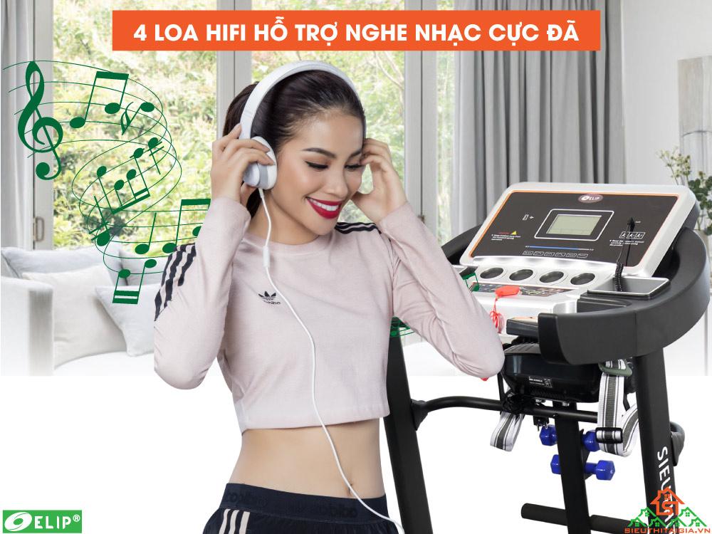 Máy chạy bộ điện Elip Tabata tích hợp nghe nhạc
