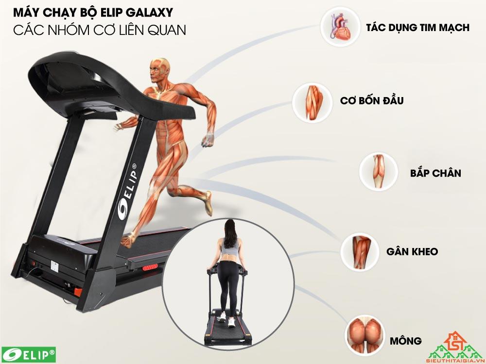 máy chạy bộ Elip Galaxy tác động lên cơ