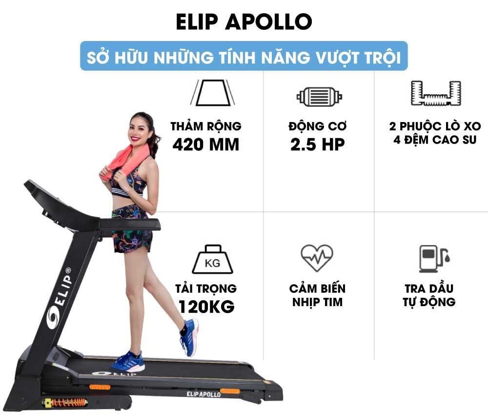 động cơ mạnh mẽ của máy chạy bộ điện Elip Apollo