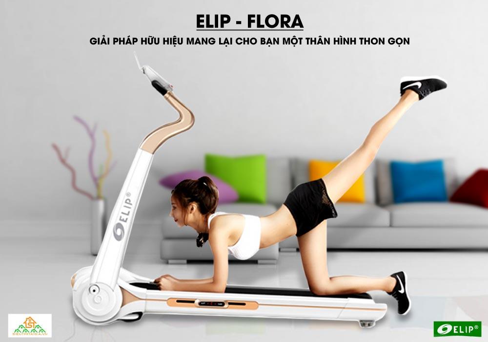 giảm cân cùng Máy chạy bộ điện đơn năng Elip Flora