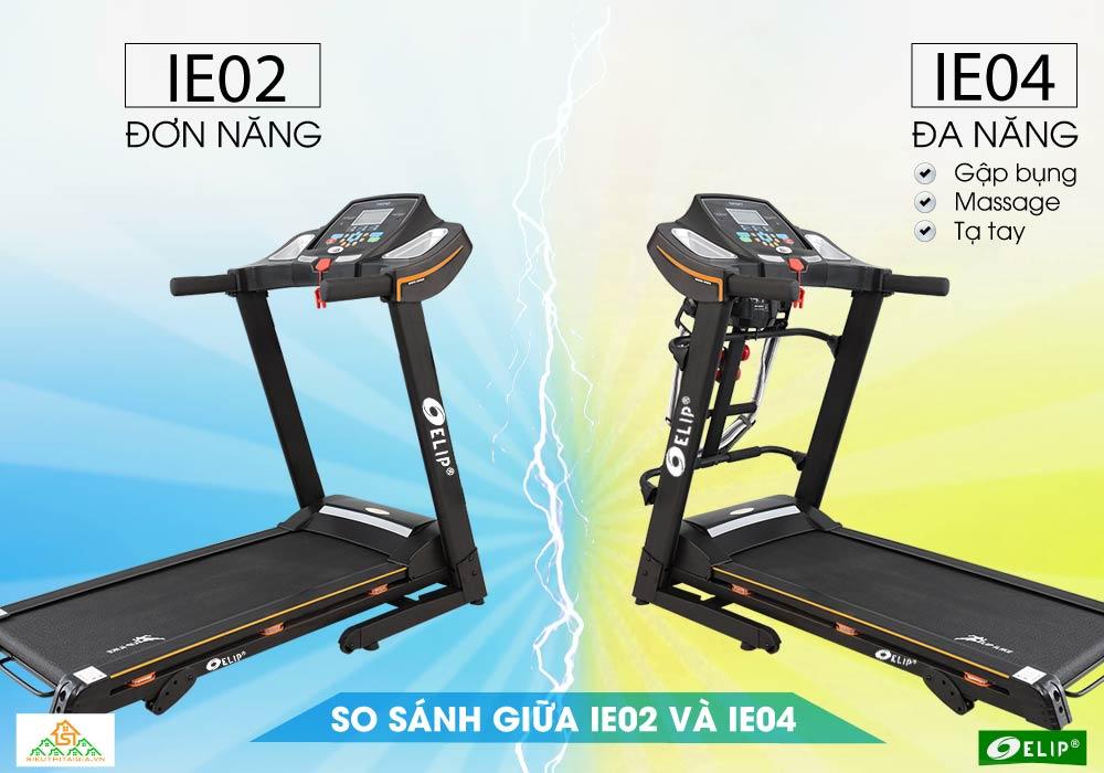 so sánh máy chạy bộ điện elip ilike ie02 và ie04