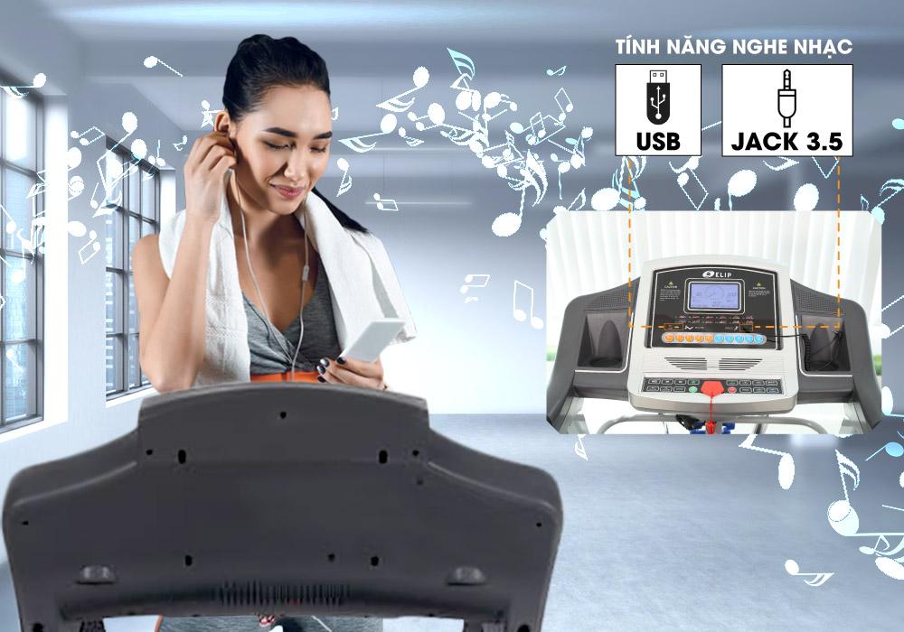 Máy chạy bộ điện Elip Sport Pro tích hợp âm nhạc
