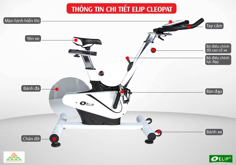chi tiết Xe đạp tập Elip Cleopat